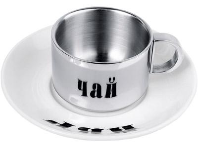 Фото Чашка с термоизоляцией на 170 мл с керамическим блюдцем