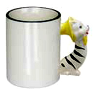Фото Кружка керамическая белая для сублимации, ручка в форме кошки