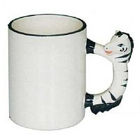 Фото Кружка керамическая белая для сублимации, ручка в форме лошади