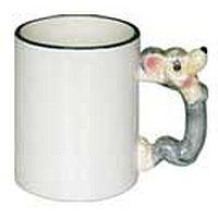 Фото Кружка керамическая белая для сублимации, ручка в форме мышки