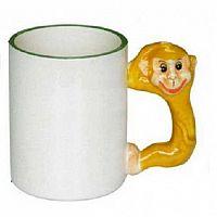 Фото Кружка керамическая белая для сублимации, ручка в форме обезьянки