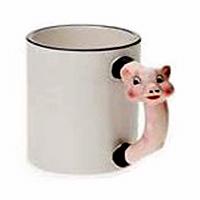 Фото Кружка керамическая белая для сублимации, ручка в форме свинки