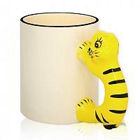 Фото Кружка керамическая белая для сублимации, ручка в форме тигра