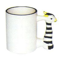 Фото Кружка керамическая белая для сублимации, ручка в форме зебры