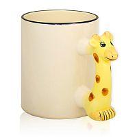 Фото Кружка керамическая белая для сублимации, ручка в форме жирафа