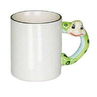 Фото Кружка керамическая белая для сублимации, ручка в форме змеи