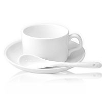 Фото Кружка керамическая белая кофейная, блюдце и ложка для сублимации