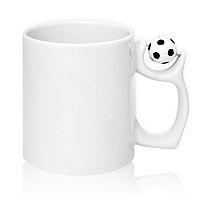 Фото Кружка керамическая белая с футбольным мячом на ручке для сублимации