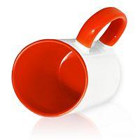 Фото Кружка керамическая для сублимации, цветная красная внутри и цветная ручка