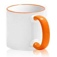 Фото Кружка керамическая для сублимации, цветная оранжевая ручка и верхняя каемка