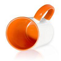 Фото Кружка керамическая для сублимации, цветная оранжевая внутри и цветная ручка
