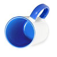 Фото Кружка керамическая для сублимации, цветная синяя внутри и цветная ручка