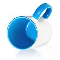 Фото Кружка керамическая для сублимации, цветная светло-синяя внутри и цветная ручка