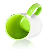 Фото Кружка керамическая для сублимации, цветная светло-зеленая внутри и цветная ручка