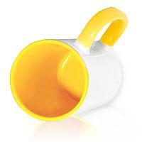 Фото Кружка керамическая для сублимации, цветная светло-желтая внутри и цветная ручка