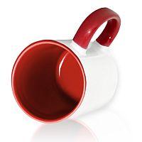 Фото Кружка керамическая для сублимации, цветная темно-красная внутри и цветная ручка