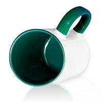 Фото Кружка керамическая для сублимации, цветная темно-зеленая внутри и цветная ручка