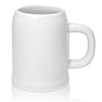 Фото Кружка пивная керамическая белая высокая, бочонок для сублимации