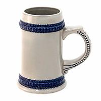 Фото Кружка пивная керамическая с синим ободком для сублимации
