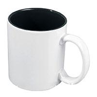 Фото Кружка цветная керамическая для сублимации, черная внутри, белая ручка