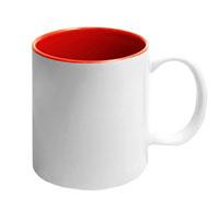 Фото Кружка цветная керамическая для сублимации, красная внутри, белая ручка