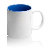Фото Кружка цветная керамическая для сублимации, синяя внутри, белая ручка