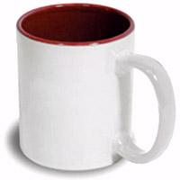 Фото Кружка цветная керамическая для сублимации, темно-красная внутри, белая ручка
