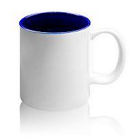 Фото Кружка цветная керамическая для сублимации, темно-синяя внутри, белая ручка