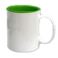 Фото Кружка цветная керамическая для сублимации, темно-зеленая внутри, белая ручка
