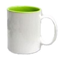 Фото Кружка цветная керамическая для сублимации, зеленая внутри, белая ручка