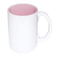 Фото Кружка цветная керамическая большая для сублимации, розовая внутри