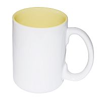 Фото Кружка цветная керамическая большая для сублимации, светло-желтая внутри