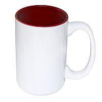 Фото Кружка цветная керамическая большая для сублимации, темно-красная внутри