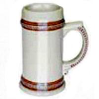 Фото Кружка пивная керамическая с коричневым ободком для сублимации