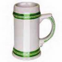 Фото Кружка пивная керамическая с зеленым ободком для сублимации