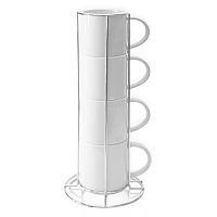 Фото Набор из 4 шт. кружек белых кофейных с подставкой
